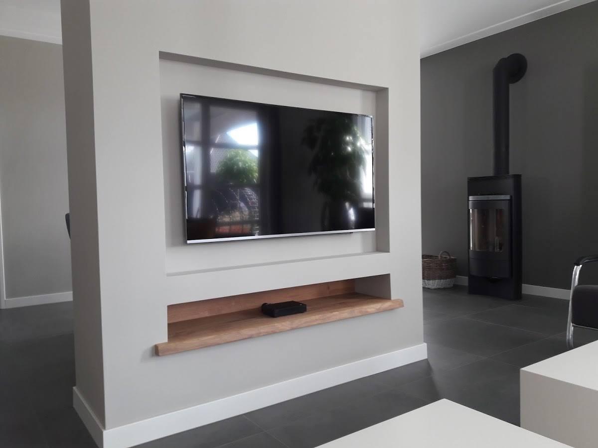 Tv In Muur : Tv aan muur ideeën voor het ophangen van de tv aan de muur